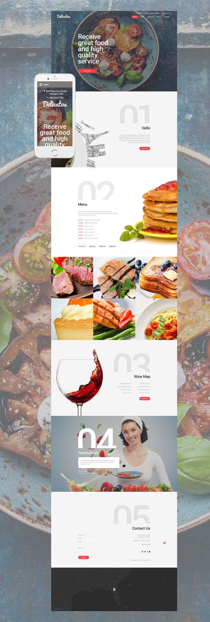 Delicatos is a beautifully designed and well-coded Italian Restaurant Web…