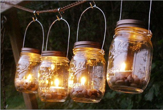 Four Ball Mason Jar Lantern Candle Hanging Vase Outdoor Lighting on etsy by Mountain Woman Products