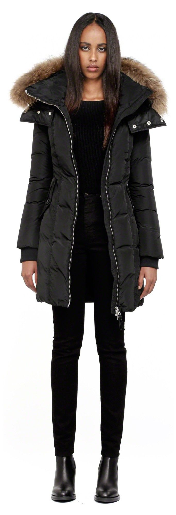Mackage - EILEEN-F4 BLACK LONG DOWN WINTER COAT FOR WOMEN WITH REMOVABLE FUR HOOD