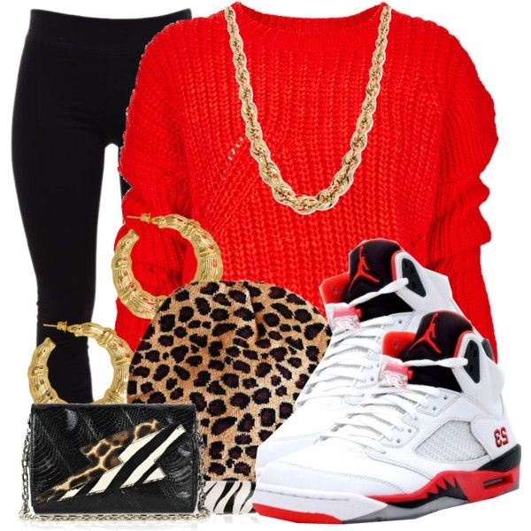 Fire Red 5s and I love this cheetah print hood!!
