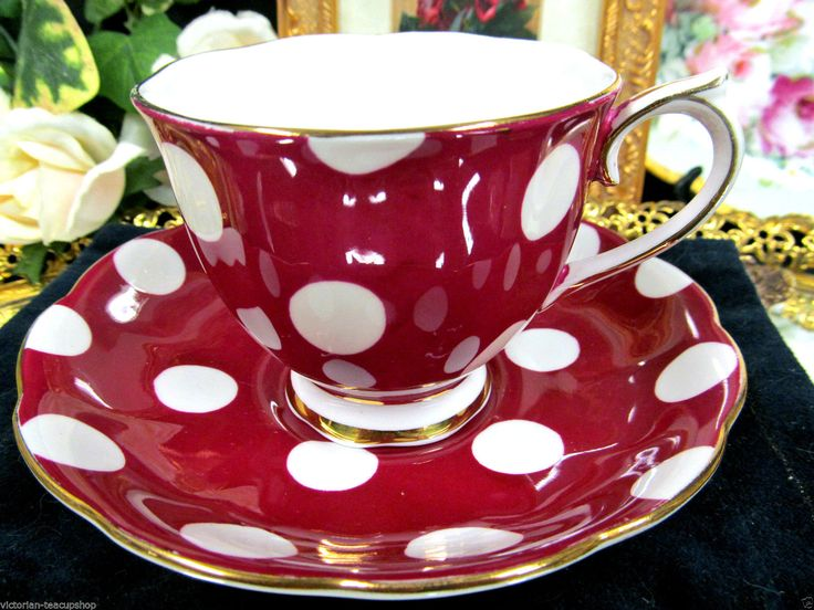 Royal Albert Teacup Red White Polka Dot Pattern Tea Cup and Saucer | eBay