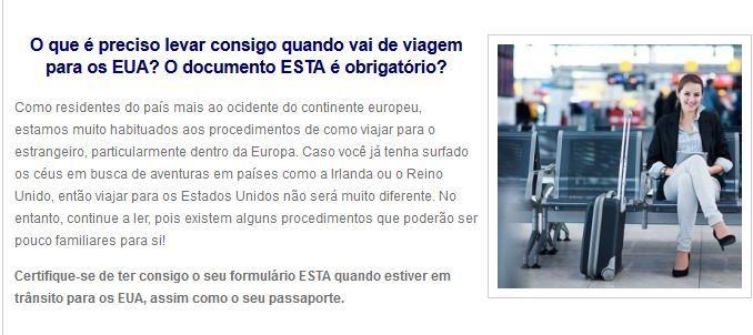 http://www.esta.pt/ Viajanto para os EUA? Realize a solicitação online ESTA. Disfrute de um Visto sem complicações para viajar os Estados Unidos. Formulário em Português.