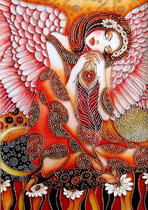 Dream of Angel by St. Petersburg artist Iris. Painted with the stained glass paints and contours. Stained interpretation based on the work o...