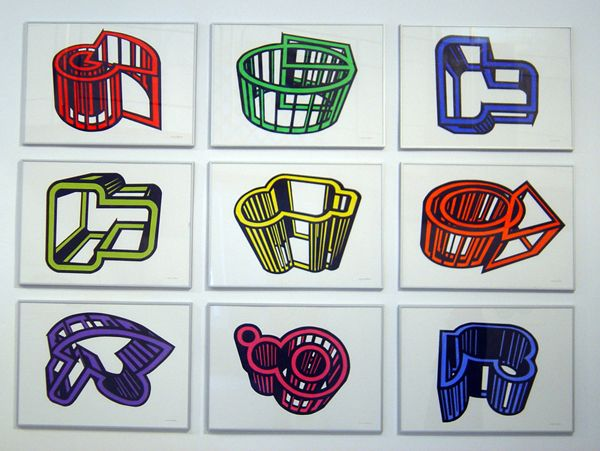 """Title : """" Cages 1"""" Acrilic on cut paper  pasted on carboard. Poliptych. 9 pieces of 70 x 50 cm each one.  Signed: Alfonso Cintado 2010. 5500 $"""