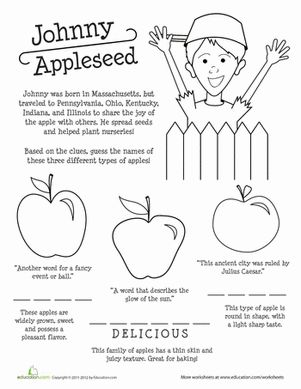 Third Grade Spelling Memory Games History Worksheets: Apple Names and Johnny Appleseed