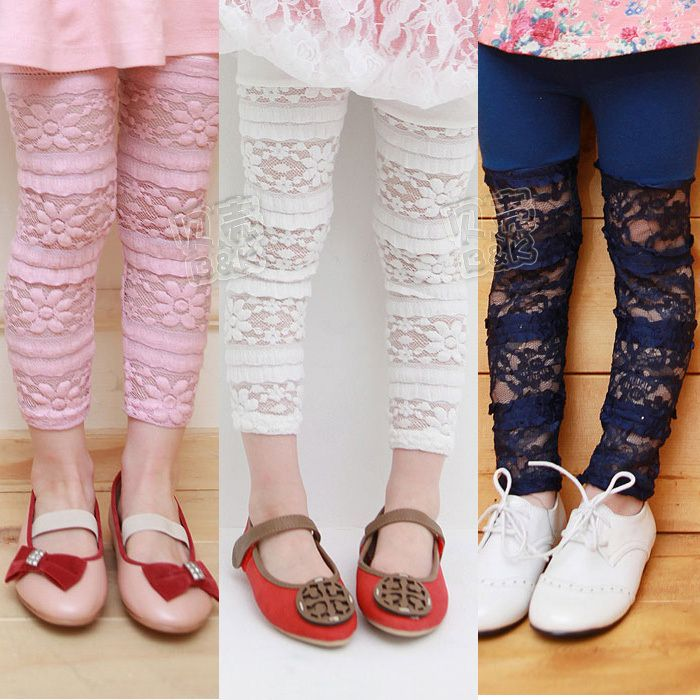 2014 summer mosaic lace girls clothing baby child knee length trousers kz-0759 $7.10