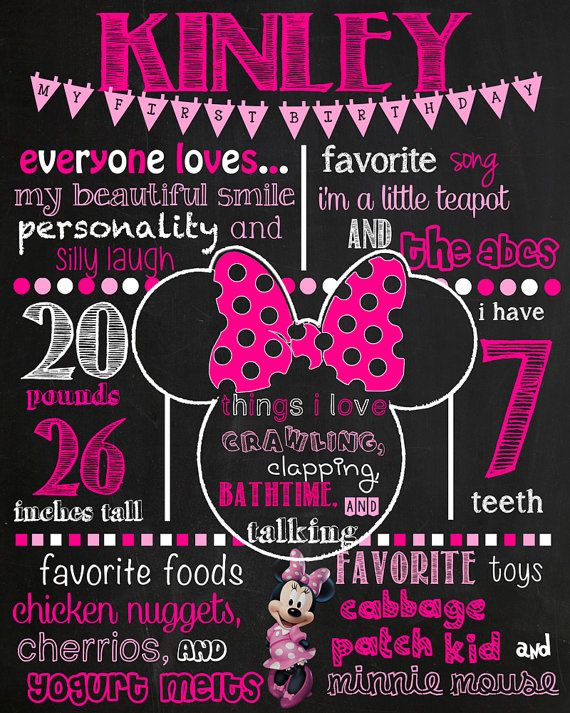 Minnie Birthday Chalkboard Sign DIGITAL FILE ONLY This item is completely customizable. Please let me know your deadline date for