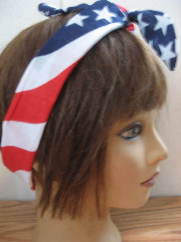 Head Band Bandana, American Flag Headband, USA Hair Accessory, Batik, Narrow Pin Up Hair Bandana, Rockabilly, Dread Wrap,  Boho, Hippie #318 by StitchesByAlida on Etsy