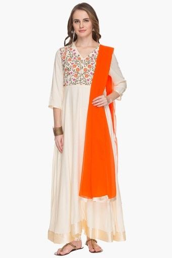 Womens Embroidered Anarkali Churidar Suit