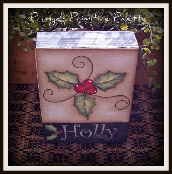 Christmas Holly Wood Shelf Sitter Block Holiday Home Decor