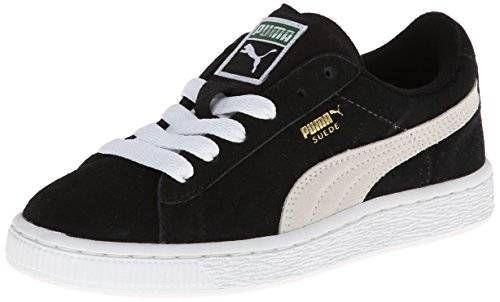 PUMA Suede Junior Sneaker (Little Kid/Big Kid) , Black/White, 7 M US Big Kid