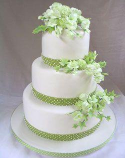 Green and white wedding cake.
