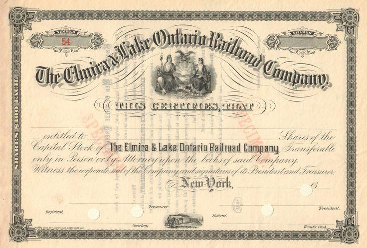 Elmira and Lake Ontario Railroad Company circa 1886 (New