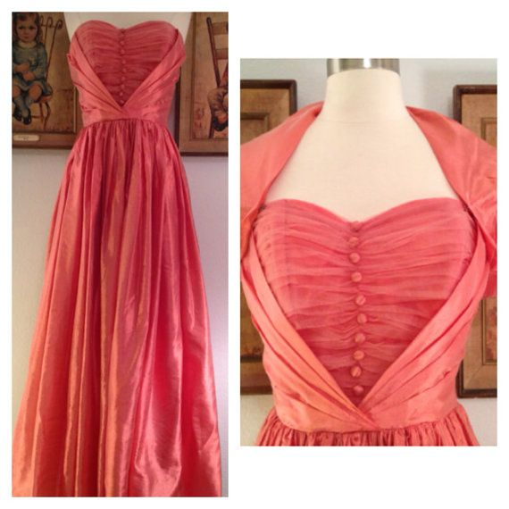 Fabulous 1950s Bright Coral Prom DressIridescent by AwwwShucks, $225.00