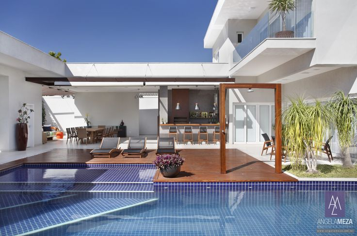 Casa VL Santa Mônica Jardins, Rio de Janeiro | Área Externa Projeto e Decoração assinado por Angela Meza Arquitetura & Interiores