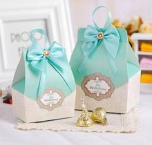 50pcs tiffany blue Candy Box Wedding Favors and gifts Wedding Souvenirs Blue Box With Ribbons wedding decoration centerpieces(China (Mainland))