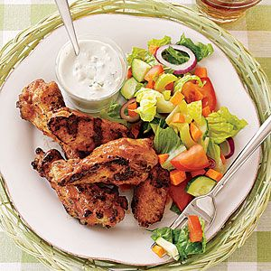 Five-Alarm Spicy Chicken Recipes  | Grilled Buffalo Wings with Salad and Blue Cheese | MyRecipes.comBlue Cheese, Chicken Recipes, Buffalo Wings, Super Bowls, Grilled Buffalo, Party Recipes, Parties Recipe, Cheese Recipes, Chicken Wings