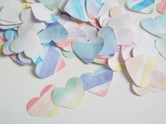 115 arcobaleno cuori coriandoli acquerello nozze gay pride matrimonio battesimo decorazione tavola scrapbooking decoupage lasoffittadiste