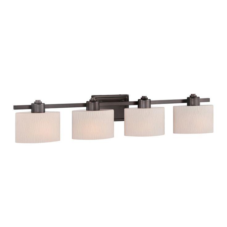 Shop allen roth 4 light grayson copper bronze bathroom vanity light at bathroom for Allen roth bathroom light fixtures bronze