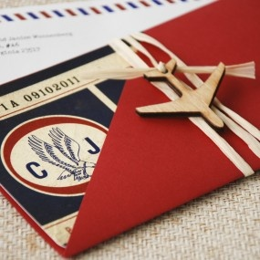 Vintage Air Mail Boarding Pass Wedding Invitation (Love is in the Air) Boarding pass invitations are a fun and unique way to invite guests and perfect for destination weddings where you don't need a passport! A vintage style Boarding Pass with an airmail theme is just the ticket!