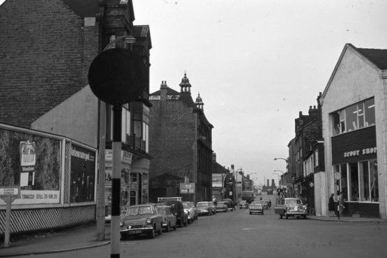 Hanley: The Bert Bentley Collection on Stoke Sentinel. View along Marsh Street from Clough Street.