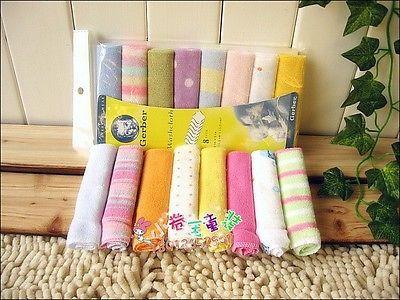 8pcs Child Infant Cotton Bibs Bath Face Towel Washcloth Wipe Baby Feeding SF18.. USD 1.79