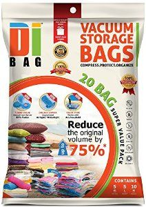Space Saver Vacuum Storage Bags - 20 Premium Travel Space Bags - Bag Size: Jumbo Large & Medium - 2X Sealed Compression Plastic Bags For Clothing Storage , Clothes bedding & Packing - DIBAG