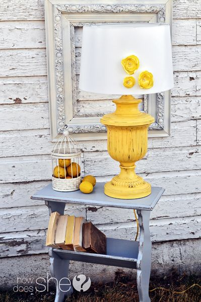 paint an old lamp and then embellish a white shade. also painted an old magazine rack. this is from the fancy farmgirls who transform garage sale items.