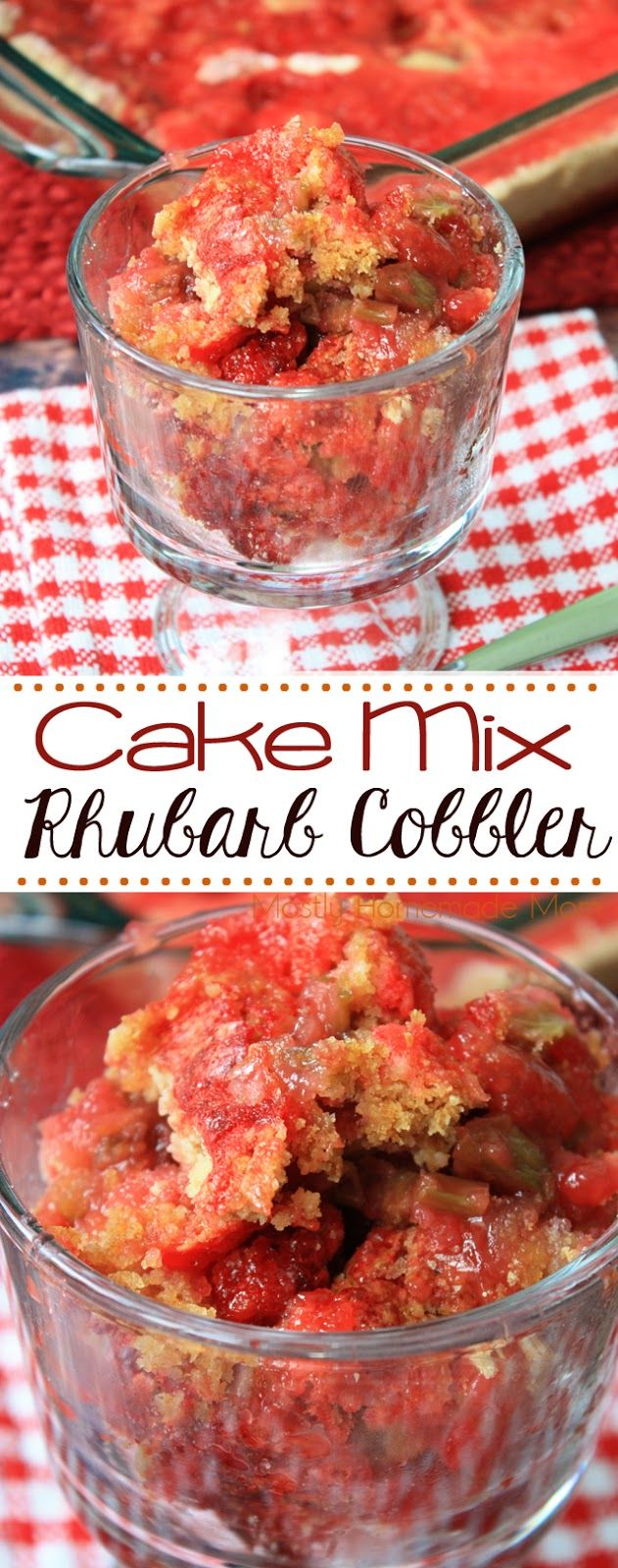 Cake Mix Rhubarb Cobbler - This easy rhubarb cobbler made with cake mix is ready in minutes! Fresh rhubarb from your garden is perfect in this simple dessert!