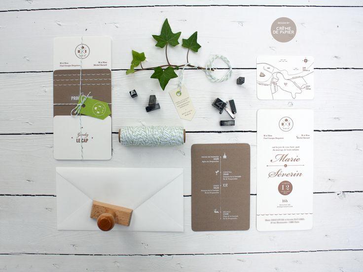 Letterpress blanc / marron / vert anis /// Mariage Île de Porquerolles /// Made by Crème de Papier