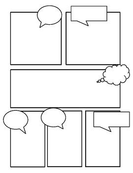 Comic book style story board templates