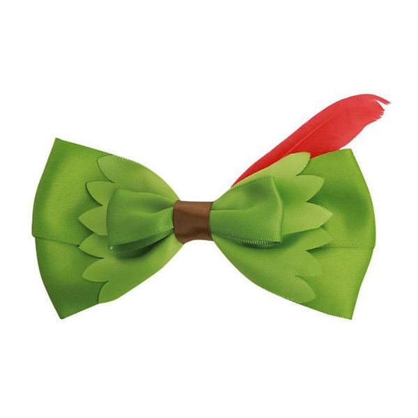 Disney Peter Pan Feather Hair Bow Hot Topic ($4.55) ❤ liked on Polyvore featuring accessories, hair accessories, bow, disney, peter pan, green hair accessories, hair bows, red hair accessories and disney hair bows