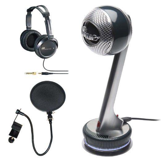 Blue Microphones Nessie Adaptive USB Microphone Bundle with Studio Headphones and Pop Filter.