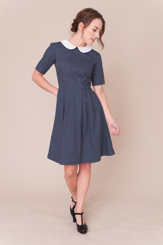 Hey, I found this really awesome Etsy listing at https://www.etsy.com/listing/485063632/navy-spotty-dress-with-peter-pan-collar