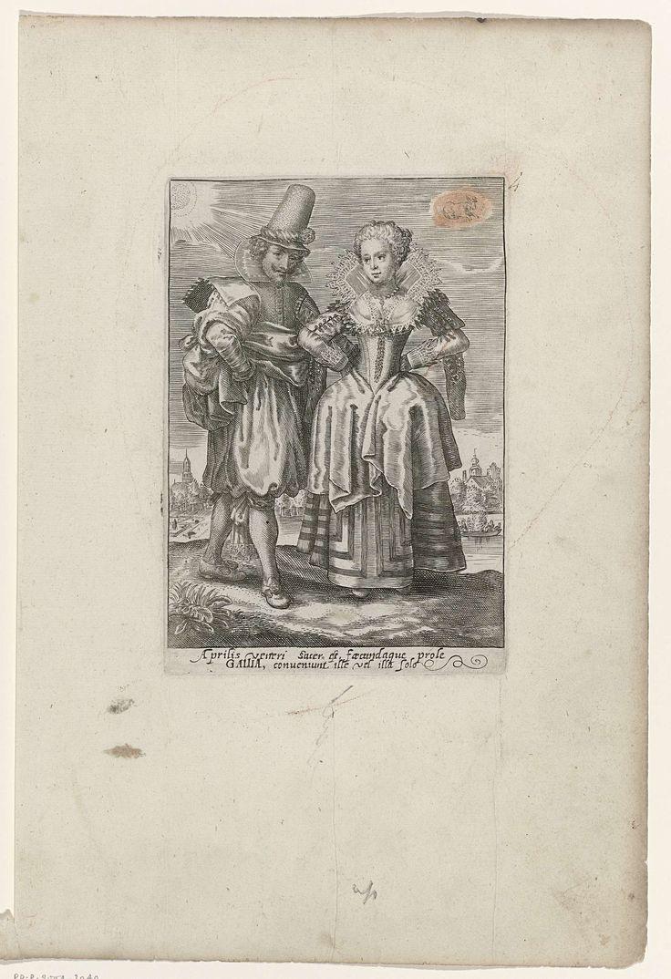 Crispijn van de Passe (II) | April: man en vrouw in Franse kleding ca. 1615-'20, Crispijn van de Passe (II), 1615 - 1625 | Man en vrouw uit Frankrijk (Gallia), gekleed volgens de mode van ca. 1625. Rivier en stad op de achtergrond. Teken van de zodiac RAM rechtsboven. Met 2 regels onderschrift in Latijn: Aprilis veneri....Gallia....solo