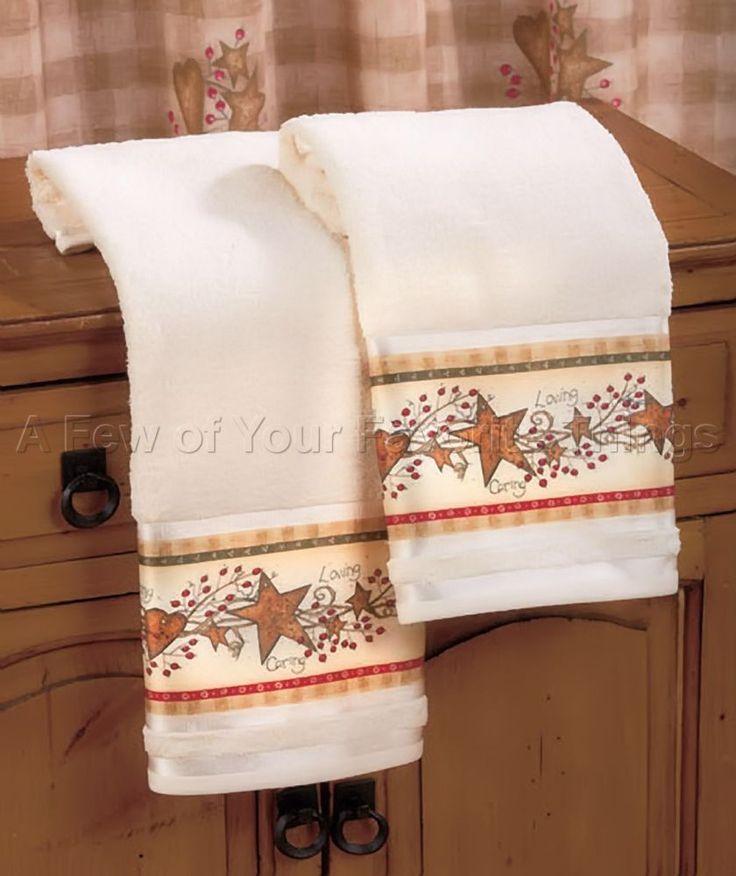 2 Hand Towels Country Hearts Berries Stars Bathroom Kitchen Decor Linda Spivey