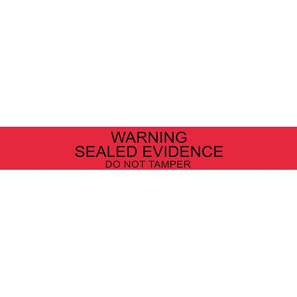 """Long Warning—Sealed Evidence Labels, 2.5cm x 17.8cm (1"""" x 7""""), Pack of 100Ideal for sealing envelopes, check sleeves, bags or lids on jars.A slit appears every seven inches, so one seal at a time can be removed"""