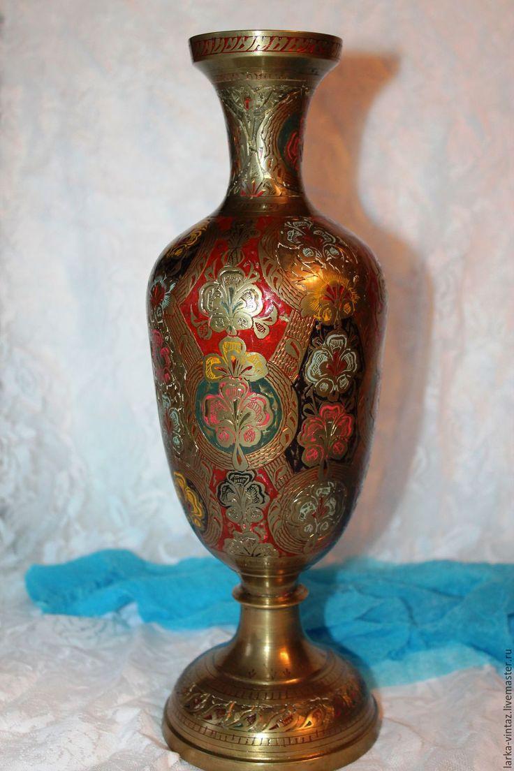 """Купить Ваза из латуни """"Праздничная"""", Индия - комбинированный, вазу ваза, вазы, купить вазу"""