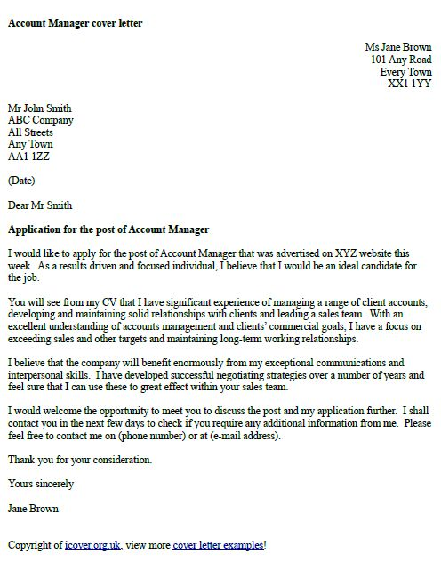 account manager cover letter example