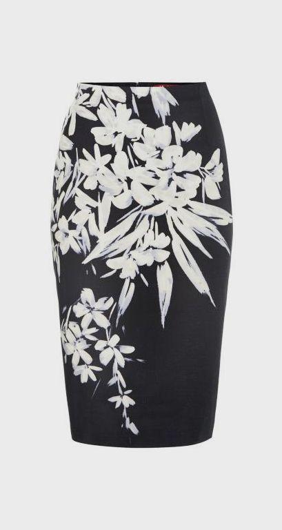 MaxMara Studio Marisa graphic floral print pencil skirt, Navy
