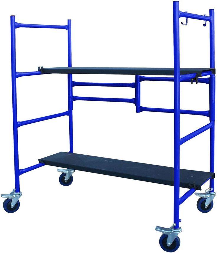 Folding SCAFFOLD Platform 500 lb. Capacity 2 Adjustable Height Steel Deck Boards #PROSeries