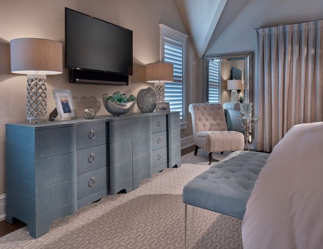 Bedroom TV Ideas. Bedroom with TV above Dresser. How to place TV in Bedroom in a stylish way. #BedroomTV #TVBedroom #BedroomTVIdeas Asher Associates Architects. Megan Gorelick Interiors