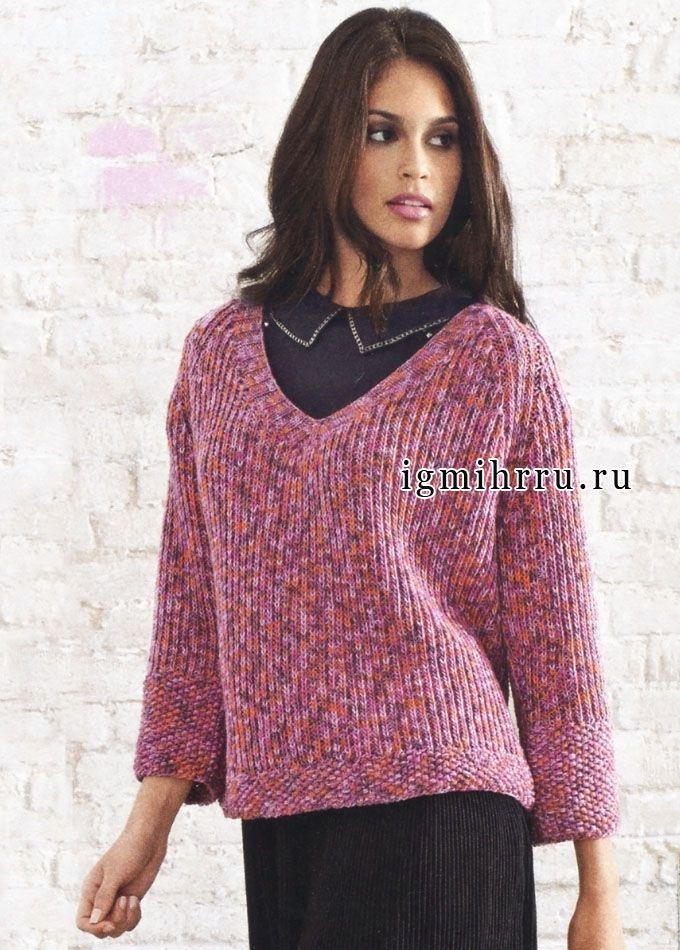Элегантный пуловер-реглан из пряжи с красивыми цветовыми переходами. Спицы