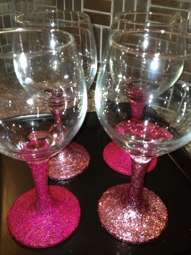 Glitter Wine Glasses My Style Pinterest Glitter