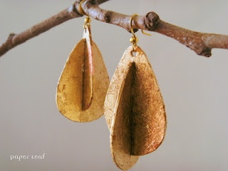 Double Drops - handmade paper earrings made of cotton paper and faux gold leaf