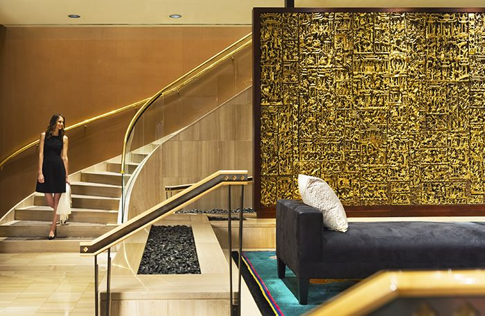 Hand carved in Camphor wood, our original 24-carat gilt leaf Chinese Temple consists of 170 separate pieces that make up the stunning 7 by 10 foot screen in our Vancouver lobby