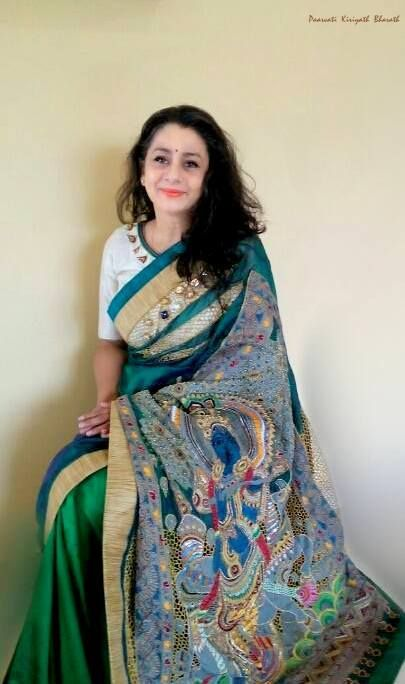 Pen Kalamkari / SILK SARI Paarvati Kiriyath Bharath
