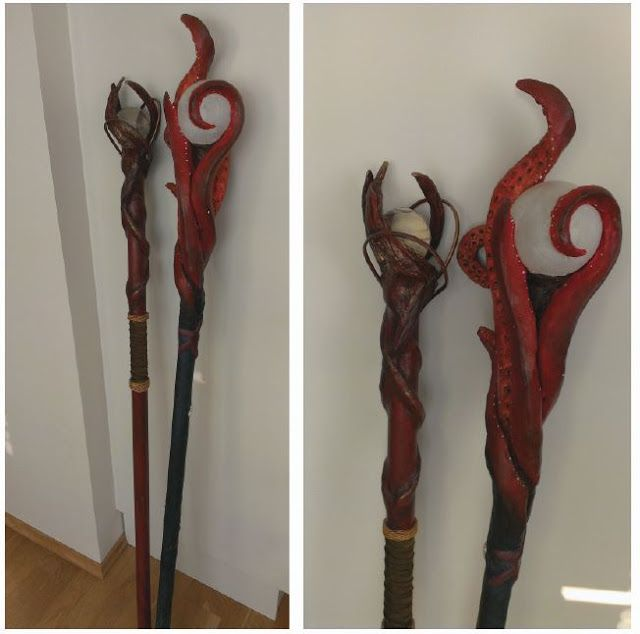 I got several comments that my new Kraken Staff looked a lot like my Elvish Staff . I might see their point, but when you hold them together...