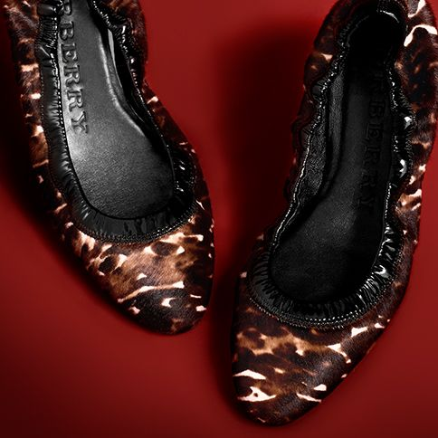 Elegant ballerina flats in glossy animal print from Burberry for A/W13