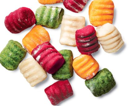 Mark Bittman's multi-colored gnocchi. How can I not make this? Now I have to find a wheat-free recipe to adapt...